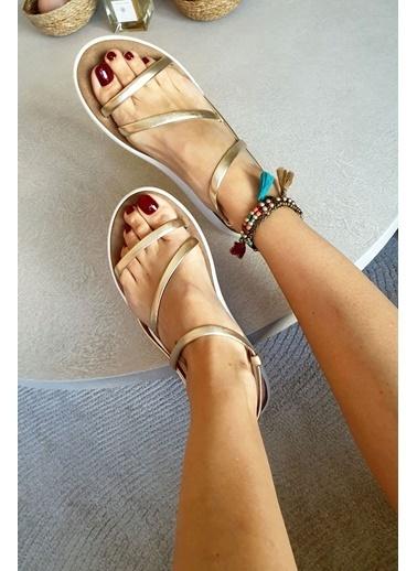 Topukla B51 Hakiki Deri Bodrum Sandalet Altın